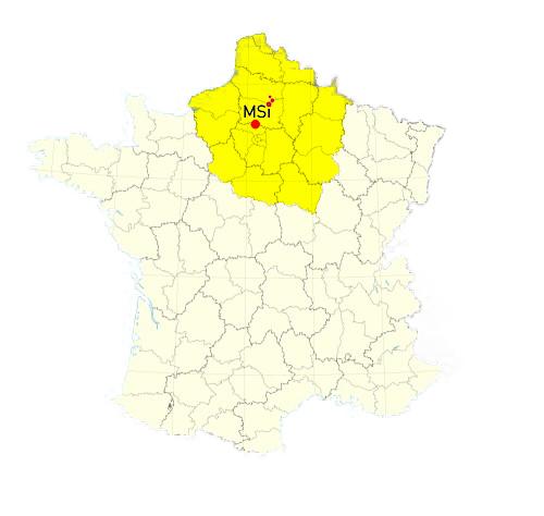 Carte de France montrant l'implantation de la société MSI et sa zone d'intervention